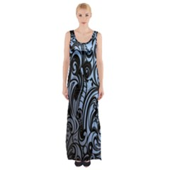 Gray Batik Blue Maxi Thigh Split Dress by Jojostore
