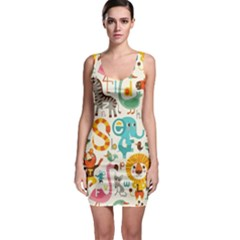 Cute Cartoon Animals Sleeveless Bodycon Dress by Brittlevirginclothing