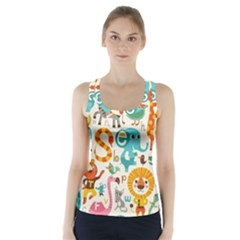 Cute Cartoon Animals Racer Back Sports Top by Brittlevirginclothing