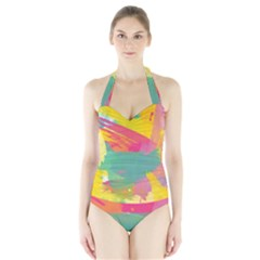 Paint Brush Halter Swimsuit by Brittlevirginclothing