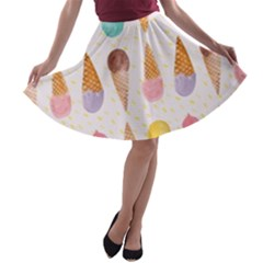 Cute Ice Cream A-line Skater Skirt by Brittlevirginclothing