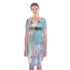 Pastel Stars Classic Short Sleeve Midi Dress by Brittlevirginclothing