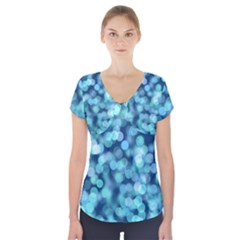 Blue Light  Short Sleeve Front Detail Top by Brittlevirginclothing