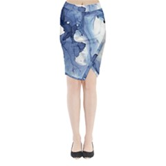 Paint In Water Midi Wrap Pencil Skirt by Brittlevirginclothing