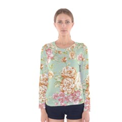 Vintage Pastel Flowers Women s Long Sleeve Tee by Brittlevirginclothing