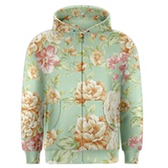 Vintage Pastel Flowers Men s Zipper Hoodie by Brittlevirginclothing