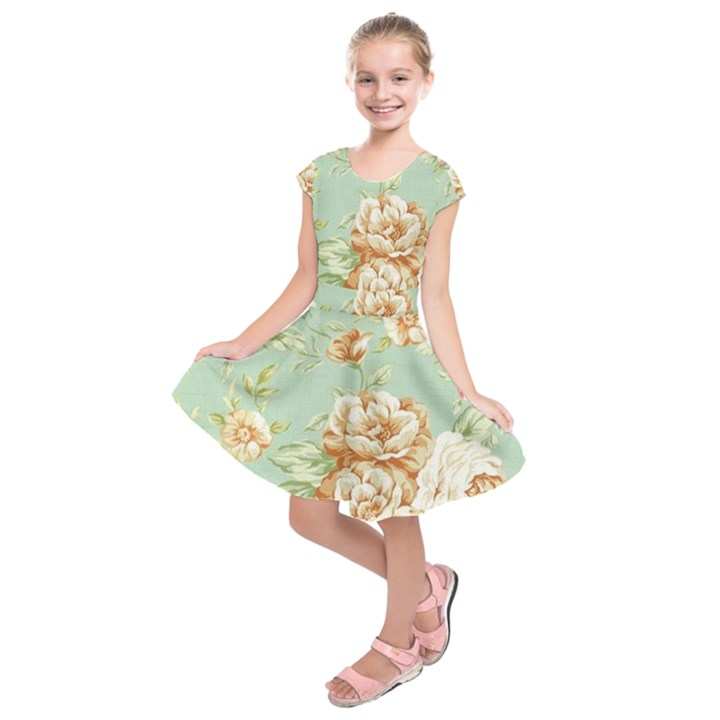 Vintage pastel flowers Kids  Short Sleeve Dress