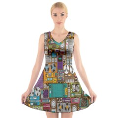 Rol The Film Strip V Neck Sleeveless Skater Dress by Jojostore
