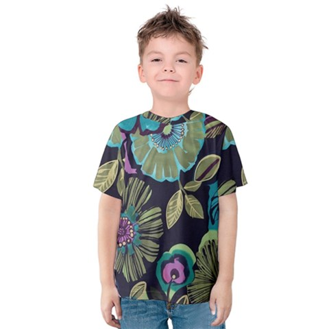 Dark Colored Lila Flowers Kids  Cotton Tee by Brittlevirginclothing
