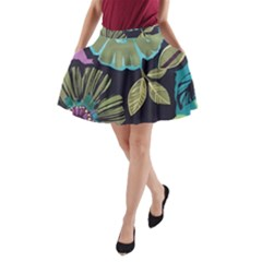 Dark Colored Lila Flowers A Line Pocket Skirt by Brittlevirginclothing