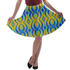 Blue Yellow A Line Skater Skirt
