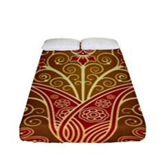 European Fine Batik Flower Brown Fitted Sheet (full/ Double Size) by Jojostore