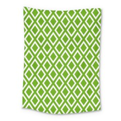 Diamonds Green White Medium Tapestry