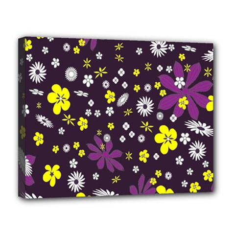 Floral Purple Flower Yellow Canvas 14  X 11  by Jojostore