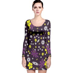 Floral Purple Flower Yellow Long Sleeve Velvet Bodycon Dress
