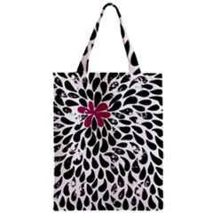 Flower Simple Pink Zipper Classic Tote Bag