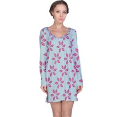 Flowers Fushias On Blue Sky Long Sleeve Nightdress by Jojostore