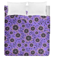 Flower Floral Purple Duvet Cover Double Side (queen Size) by Jojostore