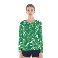 Leaf Flower Butterfly Green Women s Long Sleeve Tee by Jojostore