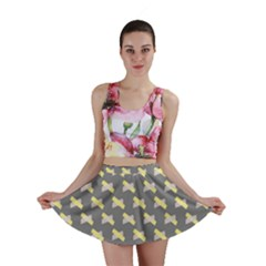 Hearts And Yellow Crossed Washi Tileable Gray Mini Skirt