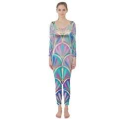 Colorful Lila Toned Mosaic Long Sleeve Catsuit by Brittlevirginclothing