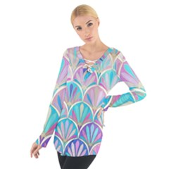 Colorful Lila Toned Mosaic Women s Tie Up Tee by Brittlevirginclothing