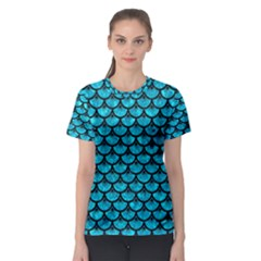 Scales3 Black Marble & Turquoise Marble (r) Women s Sport Mesh Tee