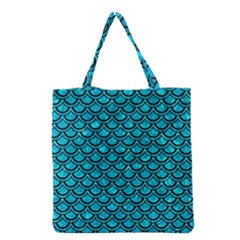 Scales2 Black Marble & Turquoise Marble (r) Grocery Tote Bag by trendistuff