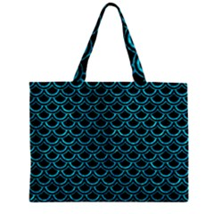 Scales2 Black Marble & Turquoise Marble Zipper Mini Tote Bag