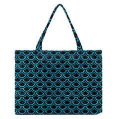 Scales2 Black Marble & Turquoise Marble Medium Zipper Tote Bag by trendistuff
