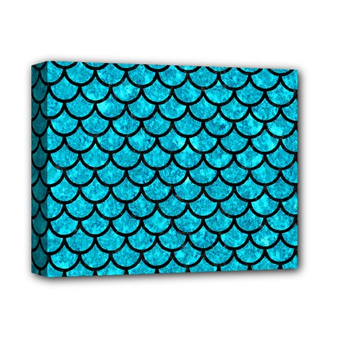 Scales1 Black Marble & Turquoise Marble (r) Deluxe Canvas 14  X 11  (stretched) by trendistuff