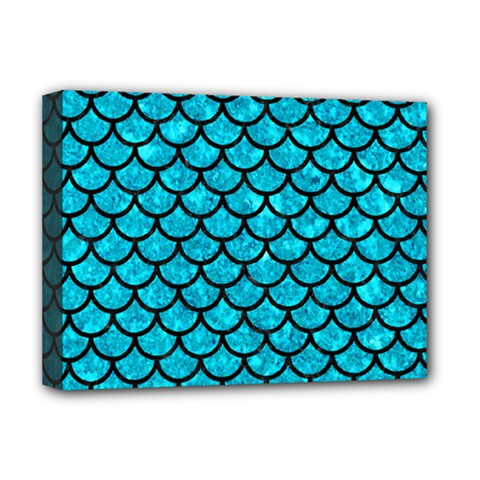 Scales1 Black Marble & Turquoise Marble (r) Deluxe Canvas 16  X 12  (stretched)  by trendistuff