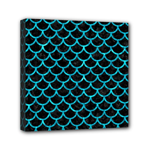 Scales1 Black Marble & Turquoise Marble Mini Canvas 6  X 6  (stretched) by trendistuff