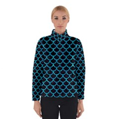 Scales1 Black Marble & Turquoise Marble Winter Jacket