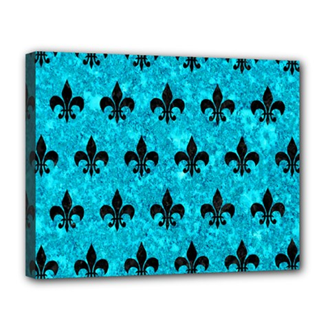Royal1 Black Marble & Turquoise Marble Canvas 14  X 11  (stretched) by trendistuff
