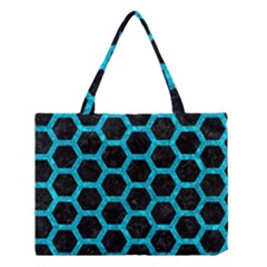Hexagon2 Black Marble & Turquoise Marble Medium Tote Bag by trendistuff
