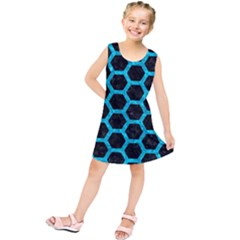 Hexagon2 Black Marble & Turquoise Marble Kids  Tunic Dress