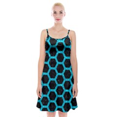 Hexagon2 Black Marble & Turquoise Marble Spaghetti Strap Velvet Dress