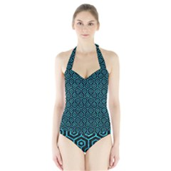 Hexagon1 Black Marble & Turquoise Marble Halter Swimsuit by trendistuff