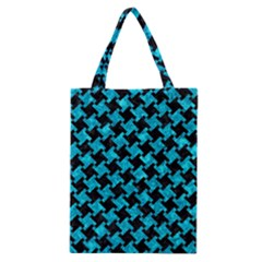 Houndstooth2 Black Marble & Turquoise Marble Classic Tote Bag by trendistuff