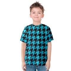 Houndstooth1 Black Marble & Turquoise Marble Kids  Cotton Tee