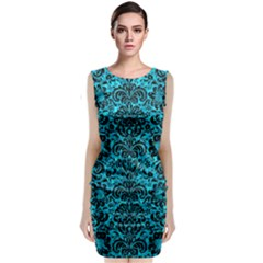 Damask2 Black Marble & Turquoise Marble (r) Classic Sleeveless Midi Dress by trendistuff