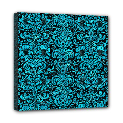 Damask2 Black Marble & Turquoise Marble Mini Canvas 8  X 8  (stretched) by trendistuff