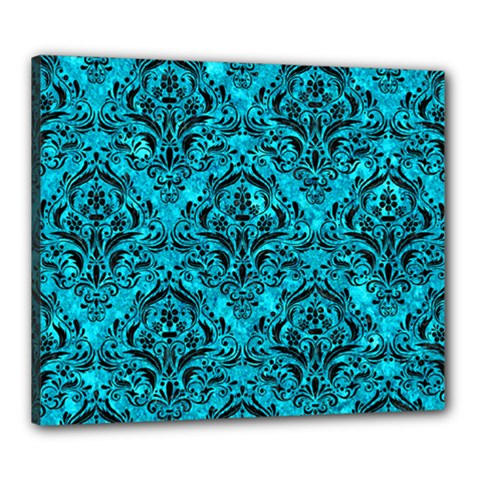 Damask1 Black Marble & Turquoise Marble (r) Canvas 24  X 20  (stretched) by trendistuff