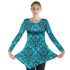 Damask1 Black Marble & Turquoise Marble (r) Long Sleeve Tunic  by trendistuff