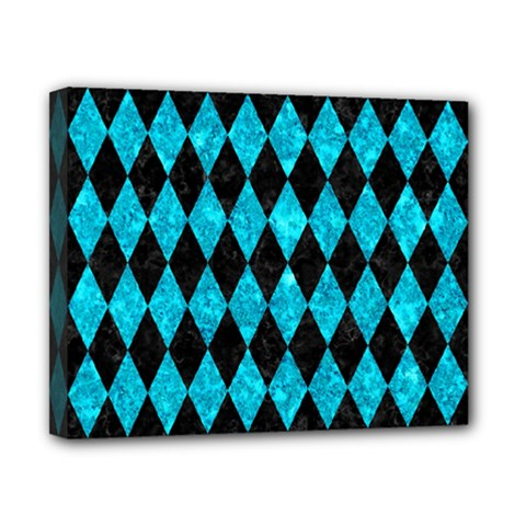 Diamond1 Black Marble & Turquoise Marble Canvas 10  X 8  (stretched) by trendistuff