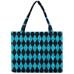Diamond1 Black Marble & Turquoise Marble Mini Tote Bag by trendistuff
