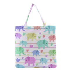Elephant Pastel Pattern Grocery Tote Bag by Valentinaart