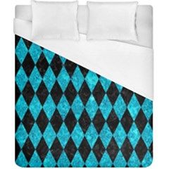 Diamond1 Black Marble & Turquoise Marble Duvet Cover (california King Size) by trendistuff