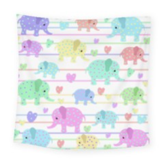 Elephant Pastel Pattern Square Tapestry (large)